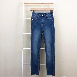 H&M Blue Denim Skinny High Waist Raw Hem Jeans